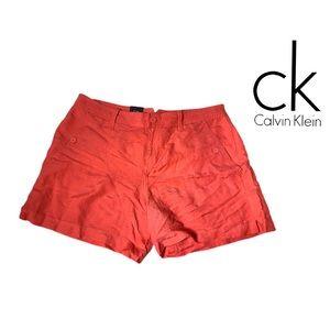 Calvin Klein Peach Orange Linen Shorts BRAND NEW